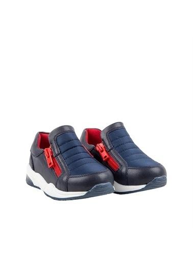 Kids A More Lucky Çift Fermuarlı Paraşüt Kumaş Işıklı Taban Erkek Bebek Ayakkabı Lacivert-Kırmızı Lacivert